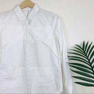 Nasty Gal Chest Guard Split Open Back White Shirt